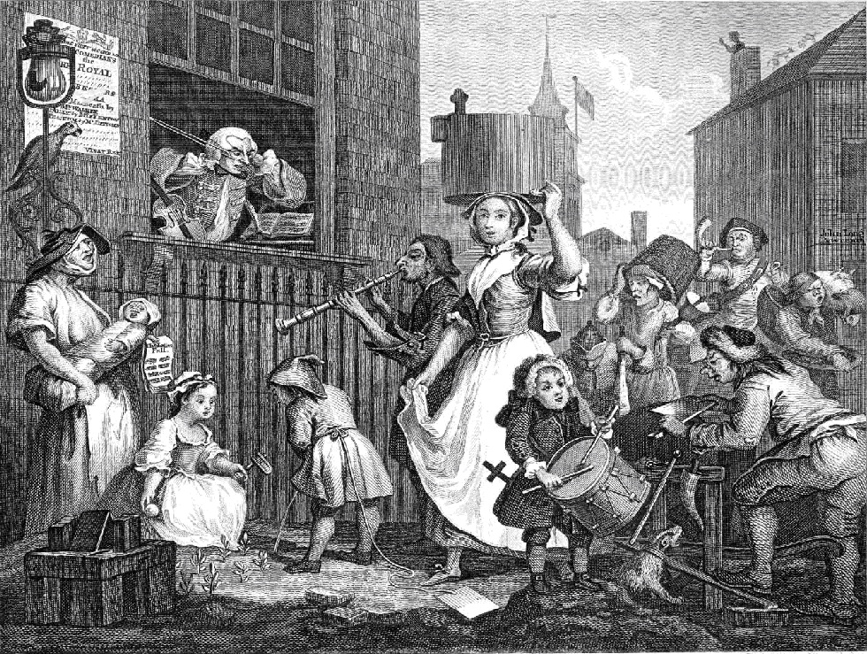 The enraged musician, by William Hogarth 1741