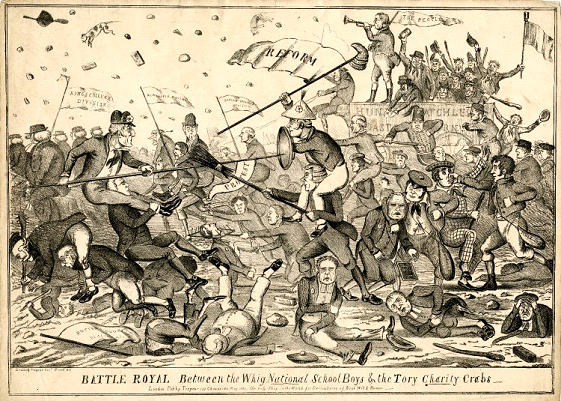 Battle royal between the Whig national school boys & the Tory charity crabs