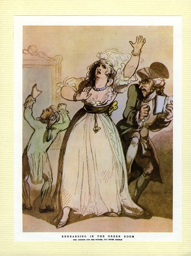 Fig.4: Mrs.Siddons,Old Kemble,and Henderson, Rehearsing in the Green Room by Thomas Rowlandson 1790 (http://www.ram.ac.uk/emuweb/pages/ram/Display.php?irn=20524&QueryPage=Query.php)  by Thomas Rowlandson 1790