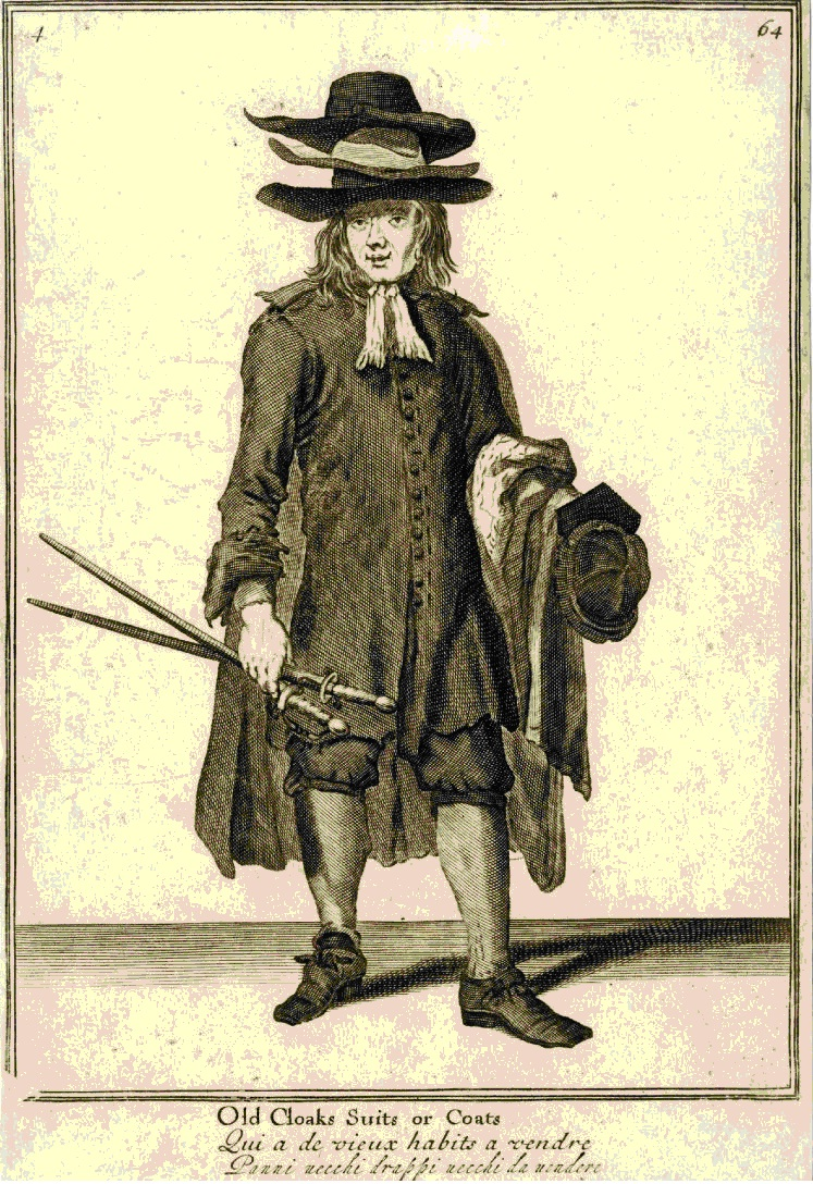 The Cryes of the City of London Drawne after the Life / Old Cloaks Suits or Coats, by Marcellus Laroon II, 1688, AN430233001 © The Trustees of the British Museum