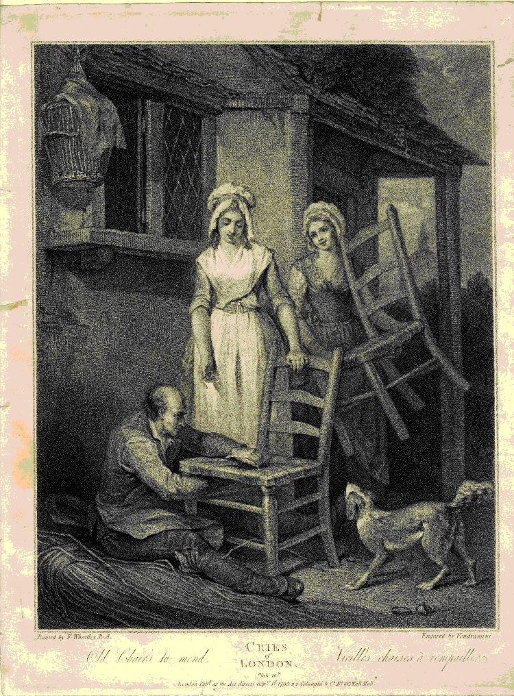 Cries of London / Old chairs to mend, by Francis Wheatley, 1795, AN342815001 © The Trustees of the British Museum